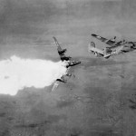 B-24 hit by flak. Photo taken seconds before the airplane exploded. (USAF Museum)