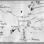 Map drawn by a Dutchman, Dr. Lemoine, who watched Lt. Keeffe's B-24 crash-land near Hendrik-Ido-Ambacht, the Netherlands. (Keeffe collection)