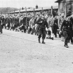 Allied prisoners-of-war leaving the interrogation center, Dulag Duft, enroute to various permanent POW camps. (Claudio Michael Becker collection)