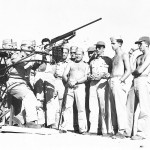 Gunnery practice. Cadet Keeffe is 2nd from right. (Keeffe collection)