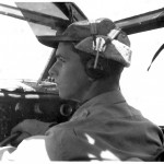 Lt. Keeffe in copilot seat during flight training, Blythe Army Air Base, California. (Keeffe collection)
