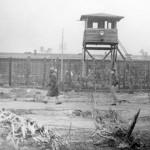 """Kriegies (POWs) walking the perimeter, getting in shape for """"what ever is coming."""" The Russian advance caused Hitler to order Stalag Luft III's evacuation on 27 January 1945. (General Clark collection)"""